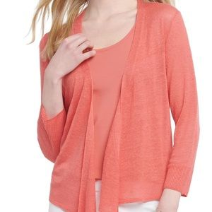 Nic + Zoe 4 Ways Linen Coral Wrap Sweater